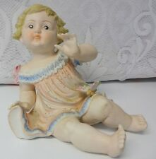"""Vtg Old Bisque Porcelain Piano Baby Girl Butterfly HUGE 7-1/2"""" h Mint Condition"""