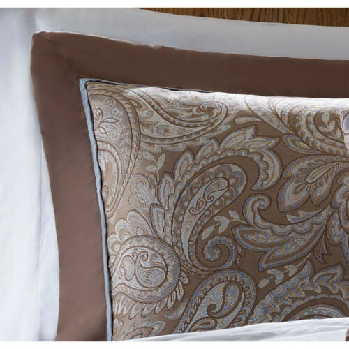 BEAUTIFUL ELEGANT COMFORTER & SHEET SET SILVER IVORY BLUE BROWN KING CAL & QUEEN