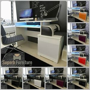 Top-Quality-Superb-Computer-Office-Desk-High-Gloss-Fronts-LED