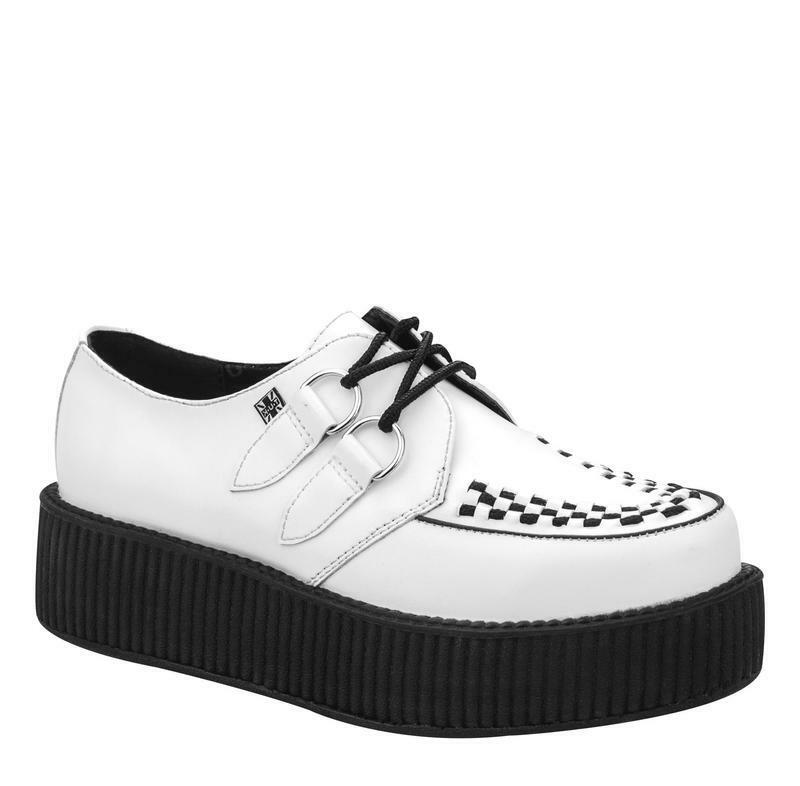 T.U.K V7269  White Action Leather Low Round Creeper