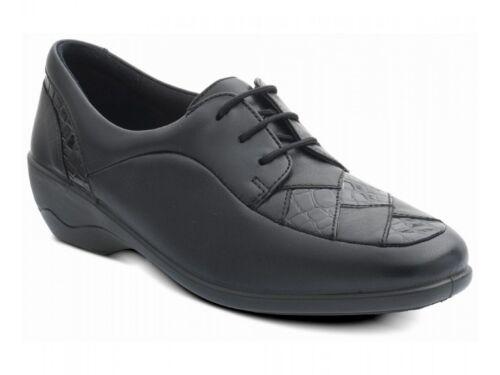 Padders greta femme en cuir avec crocodile extra large ee lacets chaussures noir