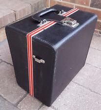 Vtg Camera Case/Box-Black w Red Stripe-Clasp-No Key-Strap-Film Photography Old..