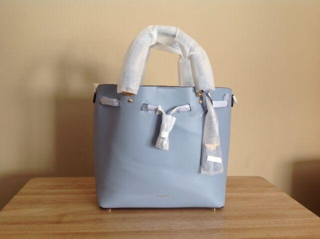 bd21373d1cf8 Michael Kors Blakely Medium Smooth Leather Bucket Bag Pale Blue Gold $398  NWT