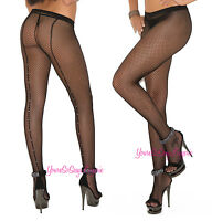 Plus Size Fishnet Pantyhose Rhinestone Back Seam Black Closed Crotch Queen