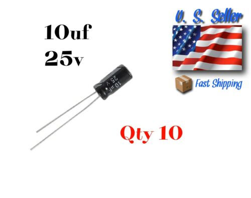 10uF 25V Radial Electrolytic Capacitor 10 Pcs Electronic Projects U.S Seller
