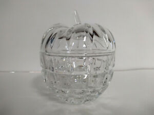 Apple Shape Crystal Cut Glass Candy Trinket Dish 4.25 in high