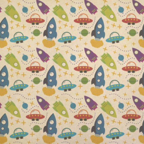 Blast Off Boys in Outer Space Kraft Present Gift Wrap Wrapping Paper