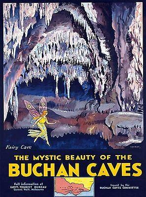 Melbourne Buchan Caves Victoria Australia Vintage Travel Advertisement Poster