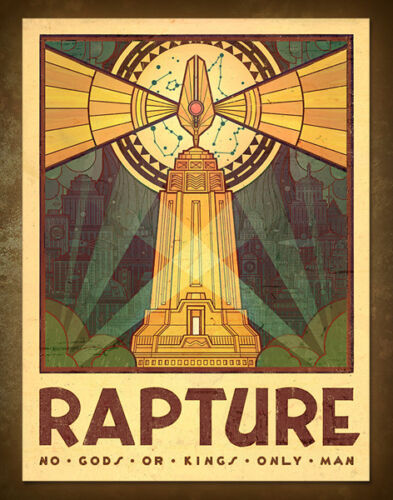 Bioshock Rapture Tourism Poster Art Print No God Or King Only Man 18x24 OFFICIAL