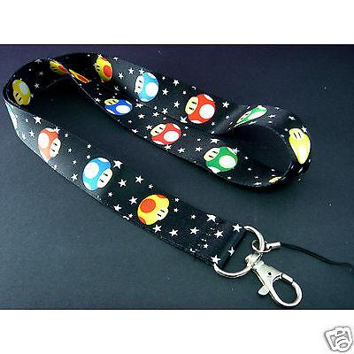 Super Mario Mushroom Black Neck Lanyard Strap Cell Mobile Phone,ID Card,Key Gift