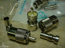 10 Lot Amphenol PL 259  Plugs W/RG-8X  (mini8) Reducers