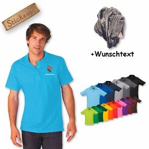 Polo Shirt Coton Brodé Broderie Mastino Napoletano Texte Personnalisé