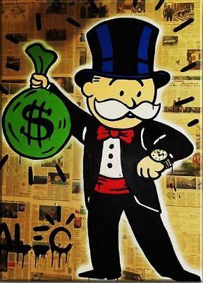 "Alec Monopoly Oil Painting on Canvas Graffiti art Richie Rich LV 28x48/"""