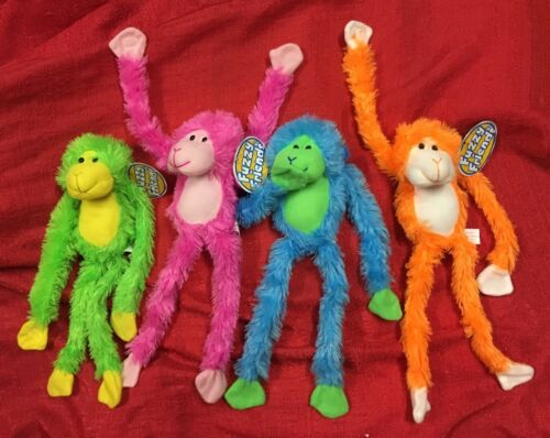 "Set Of 4-16/"" BRIGHT NEON PLUSH HANGING MONKEYS Sticky Hands Stuffed Animal"