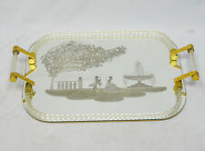 HUGE VENINI MURANO TWISTED GLASS ROPE ETCHED SILHOUETTE MIRROR TRAY