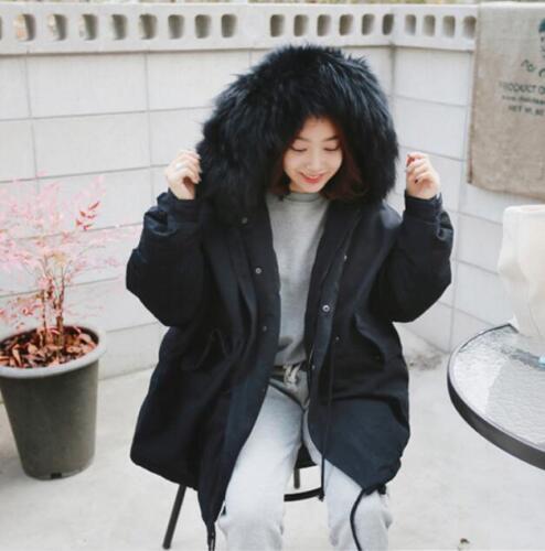 Parka Womens Warm Collar Outwear Hooded Fit Loose Fur Winter Jacket Korean Frakke dIwU1I