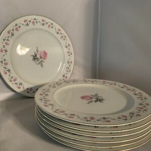 Yamato-China-Rose-Floral-Dinner-Plates-Dish-Porcelain-Japan-10-3-4-Lot-Of-7