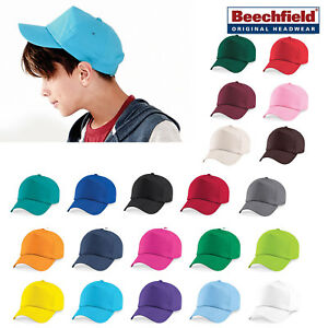 Kids Beechfield Solid Colored 100/% Cotton Cap