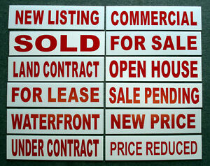 "SALE PENDING 6/""x24/"" REAL ESTATE RIDER SIGNS Buy 1 Get 1 FREE 2 Sided Plastic"