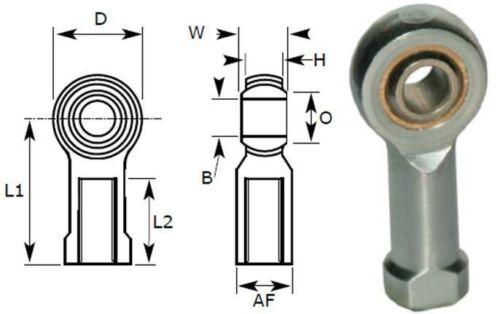 Bronze Liner 8mm Female Rod End Bearing Left Hand Thread M8X1.25 Rose Joint