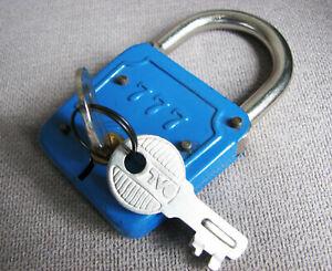Lucchetto Azzurro Vintage 777 2 chiavi speciali-Schloß PADLOCK Candado-Cadenas