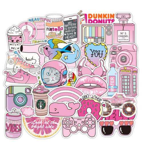 52PCS Pink VSCO Sticker Bomb Decal Pack Vinyl Car Skateboard Laptop Luggage Lot
