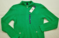 6.4NWT! WOMEN CHAPS GREEN ZIP FRONT NECK SWEATER SIZE LARGE MSRP $69 BRAND NEW!