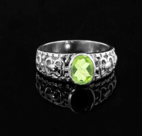 925 Sterling Silver Ring Vert Naturel Péridot Solitaire Anniversaire Taille 4-11