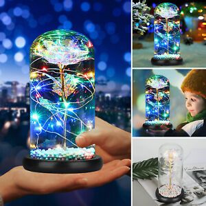 Galaxy-Rose-Flower-In-Dome-Glass-LED-Night-Light-Valentine-039-s-Day-Xmas-Decor-Gift