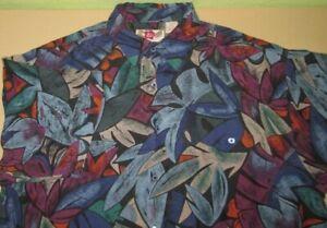 Mens-Vntg-Hilo-Hattie-Hawaiian-Shirt-M-medium-blue-floral-silk-euc