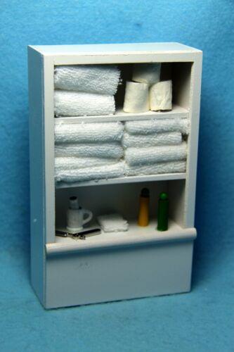 Dollhouse Miniature Wood Bathroom Linen Cabinet Cupboard Filled White IM65247W