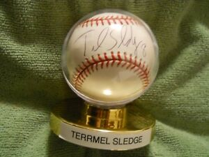 TERRMEL SLEDGE AUTOGRAPHED SIGNED BASEBALL, Expos, Nationals, Padres