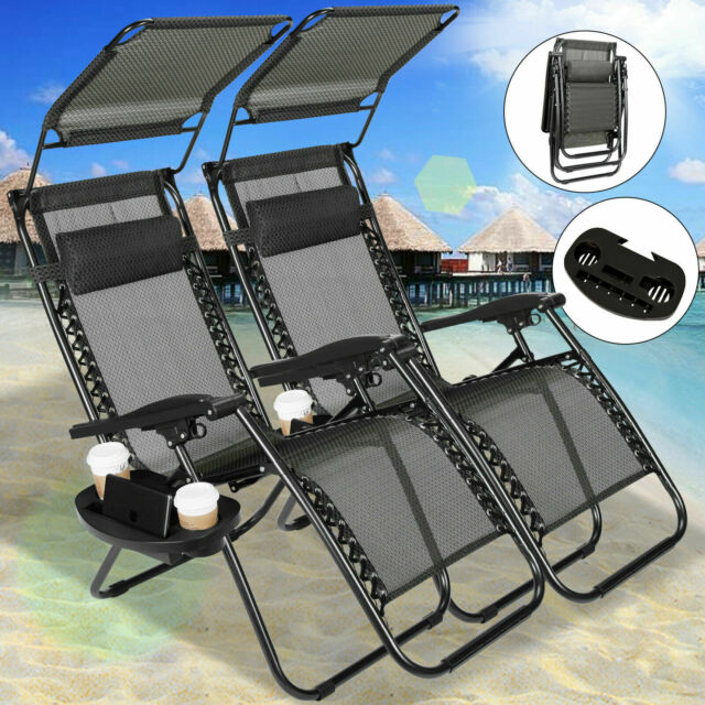 Black Folding Set of 2 Zero Gravity Chairs Lounge Patio Recliner w/Sunshade Tray