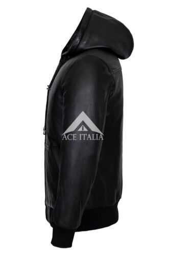BASEBALL BLACK Men/'s Hoody Slim Fit Stylish HipHop Italian Lamb  Leather Jacket