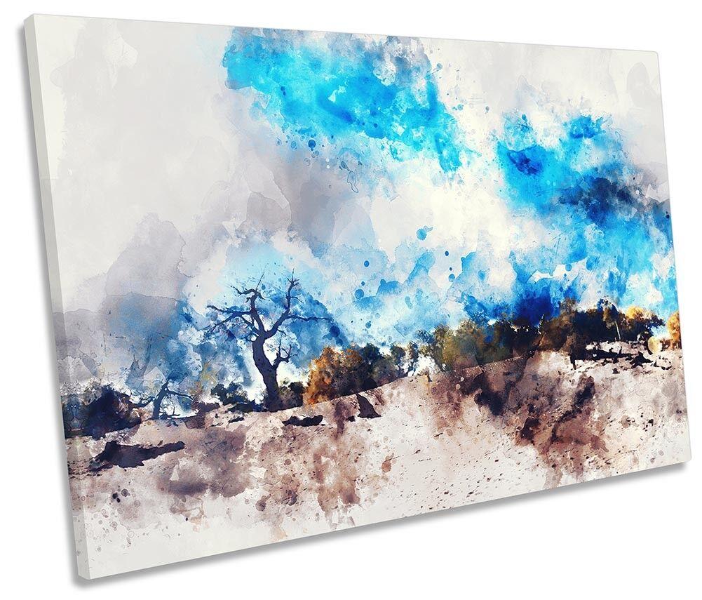 Abstract Blau Landscape Desert SINGLE CANVAS WALL ARTWORK Print Art