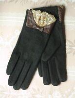 Victorian Trading Co Black Cashmere & Kidskin Gloves Venetian Lace Size S/m