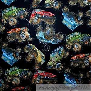Boneful fabric fq cotton quilt black big boy toy large red for Monster truck fabric