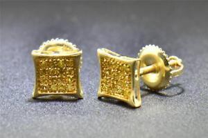 Yellow-Diamond-Studs-10K-Yellow-Gold-0-10-CT-Pave-Kite-Shaped-Small-Earrings