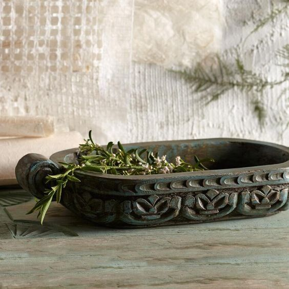 Craft World Market Kharal Decorative Hand Carved India Bowl