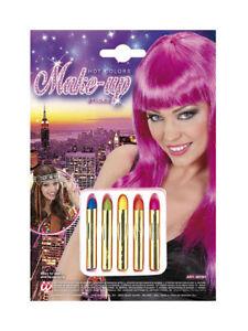5 Schminkstifte Hot Colors Fasching Karneval Schminke Ebay
