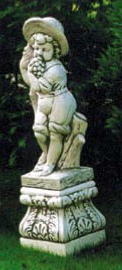 Putte Herbst + Sockel vier Jahreszeiten Gartenfiguren Kinder Statuen Steinguss