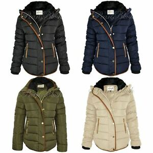 buy popular 4b822 66201 Details about Womens Ladies Quilted Winter Coat Puffer Fur Collar Hooded  Jacket Parka Size