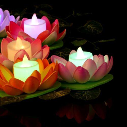 Floating Solar Powered LED Lotus Flower Light Pool Garden Landscape Lamp Outside