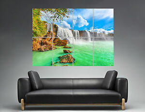 rocher nature paysage cascade wall art poster a0 large print ebay. Black Bedroom Furniture Sets. Home Design Ideas