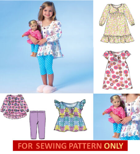 MAKE MATCHING PAJAMAS FOR GIRL~DOLL FITS AMERICAN GIRL ISABELLE SEWING PATTERN