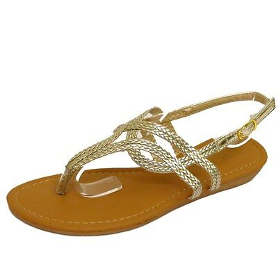 Señoras Oro Toe-Post Flip-flop Zapatos Sandalias Planas Vacaciones Verano Bombas Reino Unido 3-8