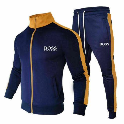 Mens Tracksuit 2PCS Top Designer Slim Fit Hooded Fitness Gym Zip Hoody UK Stock