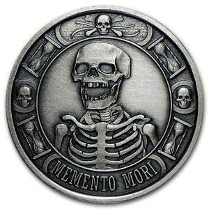 1 Oz Silver Coin Proof Antiqued Memento Mori Last Laugh