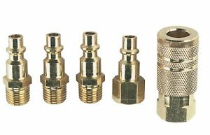 """5pc BRASS 1/4"""" NPT Quick Coupler Set Air Hose Connector Snap Fitting Male Female"""