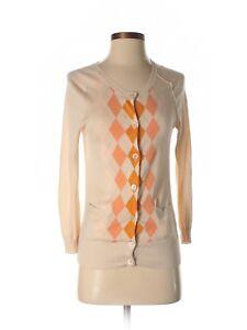 J-Crew-Argyle-Cardigan-Sweater-XS-orange-pink-peach-button-career-diamond